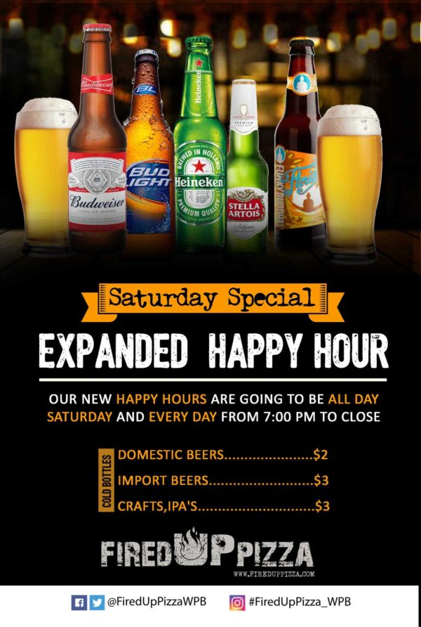 Happy hour - 50% OFF beer and wine from 7pm until close