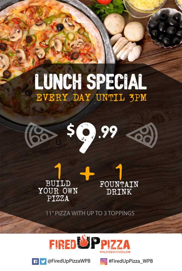 lunch special - everyday until 3pm - 1 fountain drink + 1 build your own pizza